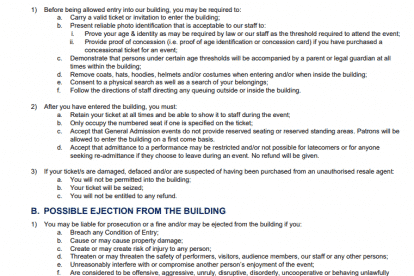 Conditions of entry 1